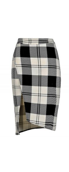 Black and Ivory Plaid Crossover Pencil Skirt  www.lilyboutique.com