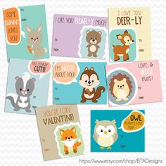 Printable Woodland Animal Valentine Cards  Instant by BTADesigns