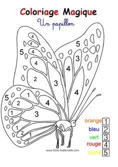 COLORIAGE MAGIQUE pour les plus petits : un papillon