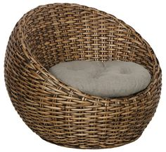 Hand Woven Rattan Indoor Use Round Orbed Club Chair with Pillow 2 Sale | eBay