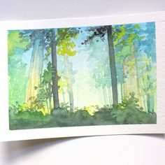 """Get out and explore the outdoors! This mini 5""""x7"""" watercolor is just $70 the first to send me an email will get this glowing forest original.  PriscillaGeorgeArt@gmail.com"""
