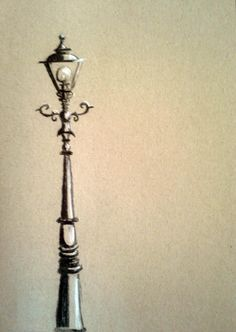 chalk drawing of a lantern/ study for wallpainting