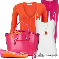 """PINK & ORANGE DELIGHT"" by happygirljlc on Polyvore"