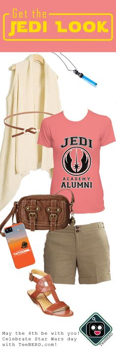 Link has an error. Use pic for idea. Jedi - girl look! Disney Inspired Outfits, Disney Outfits, Disney Style, Star Wars Outfits, Themed Outfits, Nerd Fashion, 90s Fashion, Look Star, Casual Cosplay