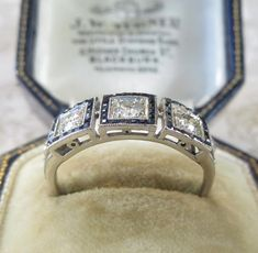 0daeec3d4cd8a c.1920 Art Deco 18 Carat Gold Old Euro Cut Diamond   French Cut Sapphire  Trilogy Ring