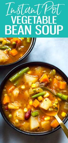 This Instant Pot Vegetable Bean Soup is a delicious vegetarian, gluten-free soup. - Best Pressure Cooker Recipes - This Instant Pot Vegetable Bean Soup is a delicious vegetarian, gluten-free soup recipe that comes - Vegetarian Vegetable Soup, Easy Vegetable Soup, Pressure Cooker Vegetable Soup, Vegetarian Chili, Veggie Food, Best Pressure Cooker Recipes, Quick And Easy Soup, Bean Soup Recipes, Instant Pot Dinner Recipes