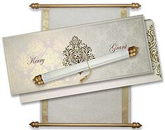 Scroll Invitations Box with White and Gold theme Scroll Wedding Invitations, Scroll Invitation, Menu Cards, Table Cards, Money Envelopes, 5 Box, Sweet Box, Motif Design, Royal Weddings
