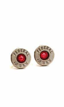 Red Garnet and Silver January Bullet Earrings