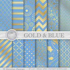 GOLD and BLUE Digital Paper Patterns Gold Patterns Prints