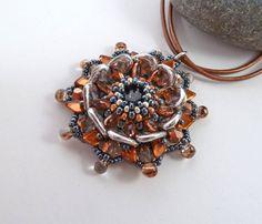 Silver Copper & Grey Beaded Flower Pendant  by BeauBellaJewellery #flower #necklace #jewelry #beadwork #beaded #handmade #silver #copper #beaubella