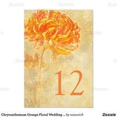Chrysanthemum Orange Floral Wedding Table Number 3.5x5 Paper Invitation Card