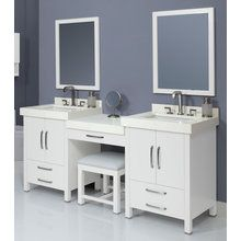 """View the DecoLav Cameron-100 100"""" Double Vanity with 1 Drawer Bridge and Vanity Stool. Choose Vanity Tops, Sinks and Mirrors  at FaucetDirect.com."""