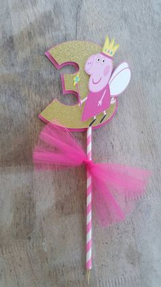 5.5 inch number Peppa Pig Cake Topper peppa by SilviasPartyDecor