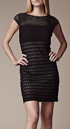Black Wave Cap-Sleeve Dress