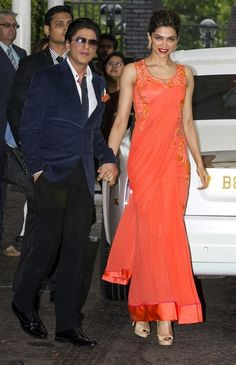 Bollywood actors Shahrukh Khan and Deepika Padukone visit the ITV studios to attend the Lorraine Show in London (July 31, 2013) - Source: PacificCoastNews.com