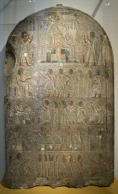 Estela de la escritora de la casa del tesoro, Hoey. Piedra caliza. 1300-1275 A.C. Dinastía XIX. De Sakkara. Rijksmuseum van Oudheden, Leiden, Países Bajos.