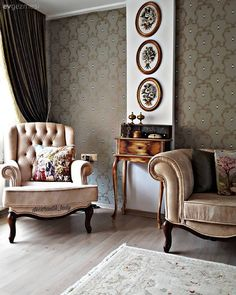 Nostalgia, with a subtle spirit is like a home from another time. – Living Room Yatak odası – home accessories Simple Living Room Decor, Neoclassical Interior, Room Doors, Classic Furniture, Wingback Chair, Home Accents, Decorating Your Home, Home Accessories, Accent Chairs