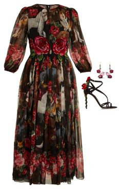 Dolce & Gabbana Rose And Puppy-print Silk-chiffon Dress In Black Print Glamorous Dresses, Beautiful Dresses, Rose Print Dress, Rose Dress, Applique Dress, Rose Applique, Dolce & Gabbana, Silk Chiffon, Chiffon Dresses