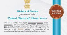 Income Tax Department - Certificate of Appreciation