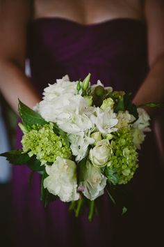 Green & White Wedding Bouquet with Plum Bridesmaid Dress