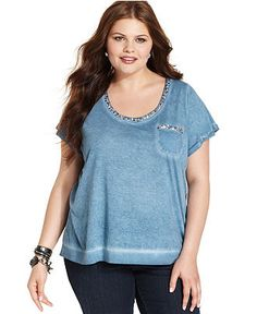 Jessica Simpson Plus Size Top, Short-Sleeve Sequin Tee - Plus Size Tops - Plus Sizes - Macy's  PERFECT FOR MY PEAR, RECTANGULAR, AND HOURGLASS SHAPED LADIES!