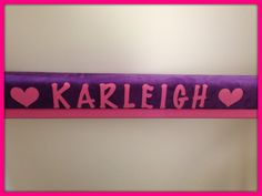 Purple Suede Gymnastics Balance Beam with Hot Pink Legs, Personalized