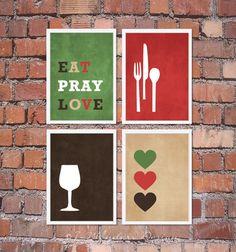 Modern Kitchen Wall Art Print Set - Inspirational Eat Pray Love - (4) 5 x 7 OR 8 x 10 Prints Brown Tan Red Green // Kitchen Decor