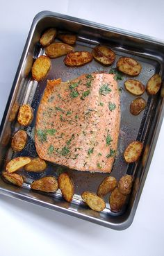 Roasted salmon and potatoes with mustard-herb butter by Patent and the Pantry, via Flickr