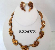 Copper Jewelry Set Renoir Necklace Earrings by VintagObsessions