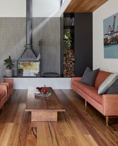 Kuzman Architecture have designed a beautiful living room featuring a Radiante 846 2V. Photo by tatanaplitt Double Sided Fireplace, Open Fireplace, Apollo Bay, Beautiful Living Rooms, Fireplaces, Firewood, Cast Iron, Architecture, Design