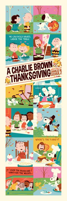 """""""A Charlie Brown Thanksgiving"""" Limited Edition of 280 Standard Print/ 10 Wood Edition by Dave Perillo. On Sale Friday, November 15, 2013 at Dark Hall Mansion: DarkHallMansion.com."""
