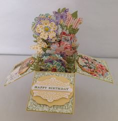 Card in a box.  Paper mostly Graphic 45 Secret Garden. Stamp is Stampin Up Morning Meadow.