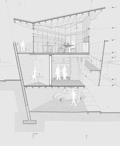 Note the dark grey lines as BG scene. Quiero Construir/ BY Taller Veinticuatro Architecture Panel, Architecture Graphics, Architecture Visualization, Architecture Drawings, Architecture Portfolio, Concept Architecture, Architecture Details, Interior Architecture, Classical Architecture