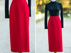 60s red pencil skirt Large 70s retro wrap mad men by xRetroKitty