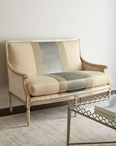 Lilah Buff Colorblock Settee by Massoud at Horchow.