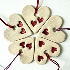 10 Christmas Tree Decorations Heart Decorations Folk Style Stamped Cream & Red Pottery via Etsy. Heart Decorations, Valentine Decorations, Christmas Tree Decorations, Christmas Tree Ornaments, Christmas Presents, Christmas Cookies, Christmas Hearts, Christmas Christmas, Clay Ornaments