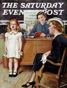 """Vintage Magazine - Saturday Evening Post  """"In Front of the Class"""" art by Frances Tipton Hunter"""