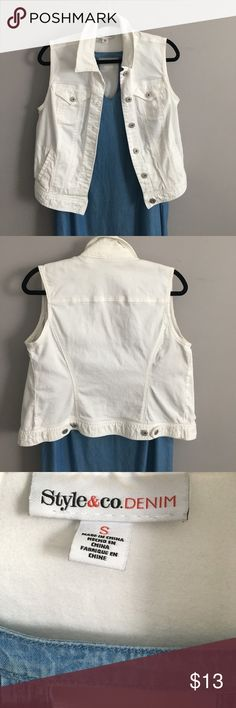 "Classic DENIM Vest Bright WHITE denim vest in excellent condition. NO STAINS or marks. Has some stretch. Silver tone buttons. Pockets. Missy sizing small. From MACYS.  Measures19"" bust and 24"" length. Style & Co Jackets & Coats Vests"