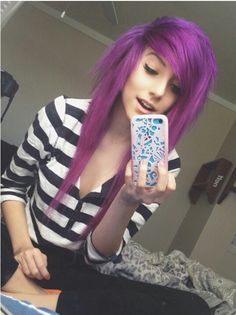 """"""" i smile shyly. """"my names alex. i like c-cats, hugs, dying my hair, and music. i'm pretty sh-shy."""" i look down. """"luke is my o-older overprotective brother. Dye My Hair, Your Hair, Alex Dorame, Emo Scene Hair, Scene Girls, Emo Girls, Purple Hair, Halle, Cute Hairstyles"""