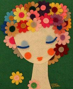 Inspiration for handmade felt flowers and face Handmade Felt, Felt Diy, Felt Crafts, Diy And Crafts, Crafts For Kids, Arts And Crafts, Paper Crafts, Kids Diy, Felt Dolls