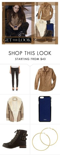 """""""Get The Look: Emma Stone"""" by anonymous1612 ❤ liked on Polyvore featuring True Religion, TravelSmith, River Island, Valextra, Bamboo, Melissa Odabash, GetTheLook, winterstyle and plus size clothing"""