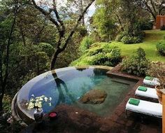 Infinity pool overlooking a forest