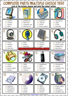 Computer Parts ESL Printable Multiple Choice Test For Kids Computer Lab Lessons, Computer Lab Classroom, Computer Class, Technology Lessons, Computer Basics, Computer Science, Computer Teacher, Science Lessons, Vocabulary Games For Kids