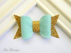 Mint Bow Hair Clip - Bow Hair Clip - Glitter Bow Hair Clip - Glitter Bow Clippie - Gold Glitter Hair Clip - Mint Bow Clippie by AvaBowtiquee on Etsy