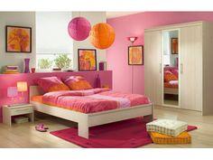 Chambre fille rose orange