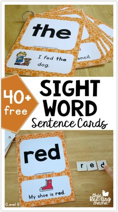 Teach Your Child to Read - 40 FREE Sight Word Sentence Cards - Level 1 - This Reading Mama Give Your Child a Head Start, and.Pave the Way for a Bright, Successful Future. Sight Word Sentences, Teaching Sight Words, Sight Word Practice, Sight Word Games, Sight Word Activities, Pre K Sight Words, Sight Word Flashcards, First Grade Sight Words, Simple Sentences
