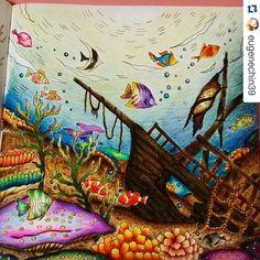Instagram media desenhoscolorir - Muito lindo esse navio! By @eugenechin39 ・・・#oceanoperdido #lostocean #大人の塗り絵#大人のぬりえ #コロリアージュ #ロマンティックカントリー #おとなのぬりえ #おとなの塗り絵 #ぬりえワンダーランド #塗り絵 #絵#johannabasford #coloringbook #desenhoscolorir