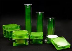 Récipients de produit de beauté cosmétiques à extrémité élevé de fantaisie verts…