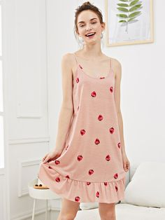 19f1c445c9 SHEIN offers Strawberry Print Ruffle Hem Night Dress   more to fit your  fashionable needs.