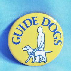 """Guide Dogs for the Blind Yellow Lapel Button Pin Badge - 1¼"""" - 1980 s"""